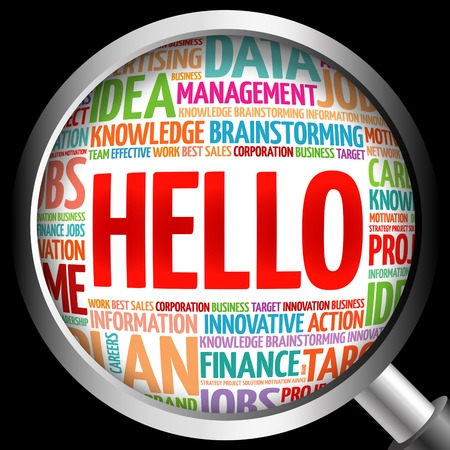 meet and greet: HELLO word cloud with magnifying glass, business concept Stock Photo