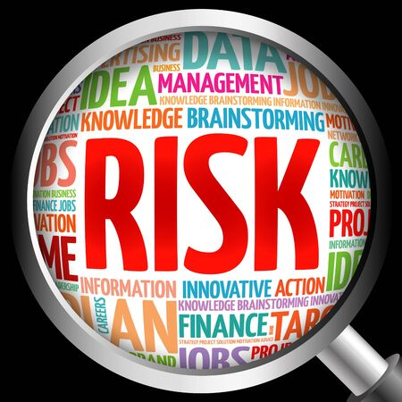 payoff: RISK word cloud with magnifying glass, business concept