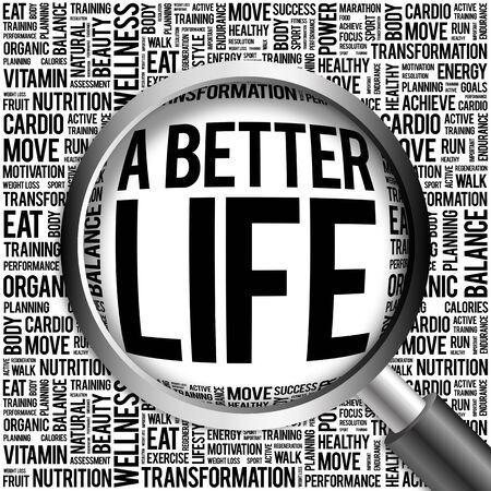 better: A Better Life word cloud with magnifying glass, health concept Stock Photo