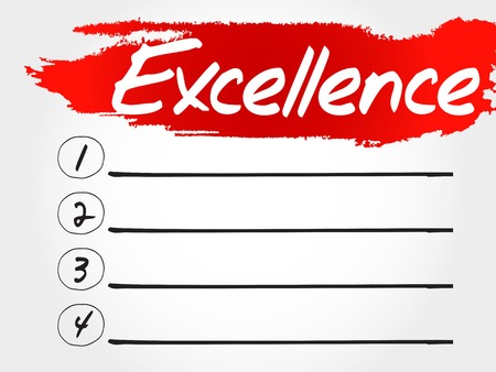 excellence: Excellence blank list, business concept