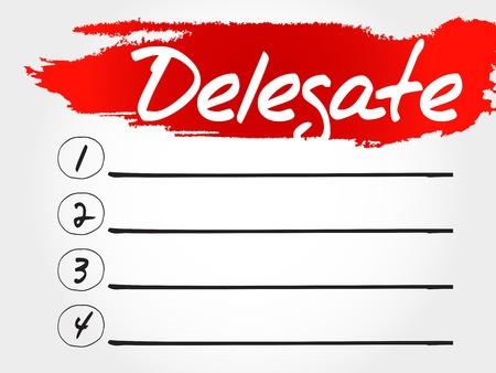 delegation: Delegate blank list, business concept Illustration