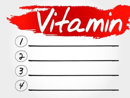 reducing: VITAMIN blank list, fitness, sport, health concept