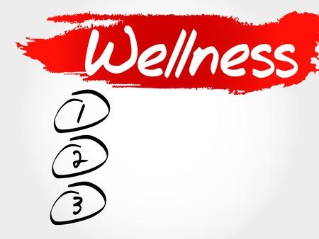 health and wellness: WELLNESS blank list, fitness, sport, health concept Illustration