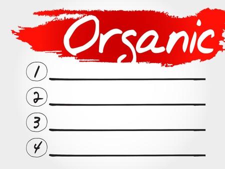 vitamine: ORGANIC blank list, fitness, sport, health concept