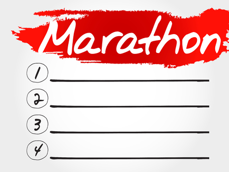 intermediate: MARATHON blank list, fitness, sport, health concept