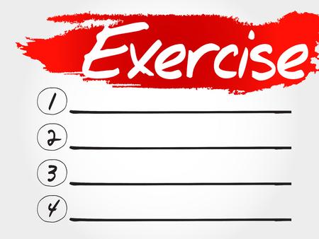 feel good: EXERCISE blank list, fitness, sport, health concept Illustration