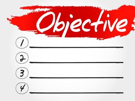 objective: Objective blank list, business concept Illustration