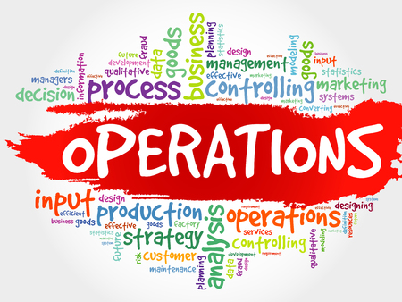 overseeing: Operations word cloud, business concept Illustration