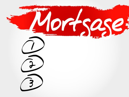borrowing money: Mortgage blank list, business concept Illustration