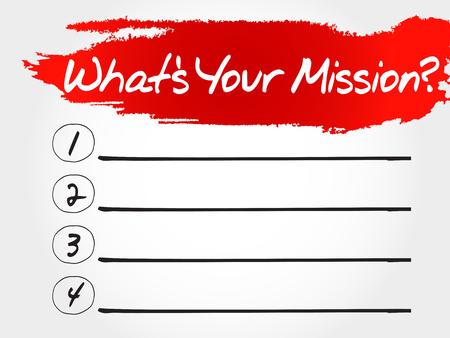 What's Your Mission blank list, business concept Vektoros illusztráció