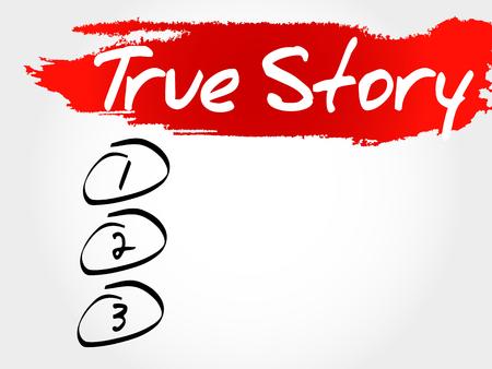 believable: True Story blank list, business concept Illustration