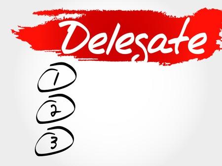 delegar: Delegar lista en blanco, concepto de negocio