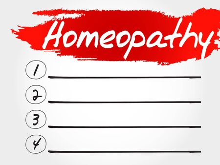 homeopathy: Homeopathy blank list, health concept