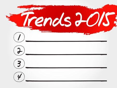 trends: Trends 2015 blank list, business concept Illustration