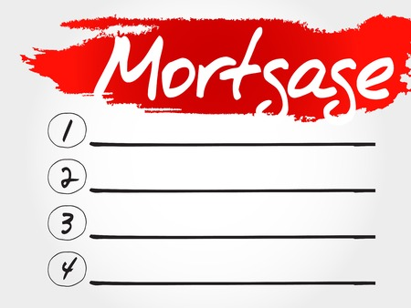 creditworthiness: Mortgage blank list, business concept Illustration