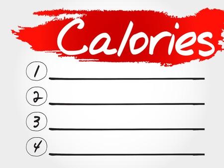 calories: CALORIES blank list, fitness, sport, health concept Illustration