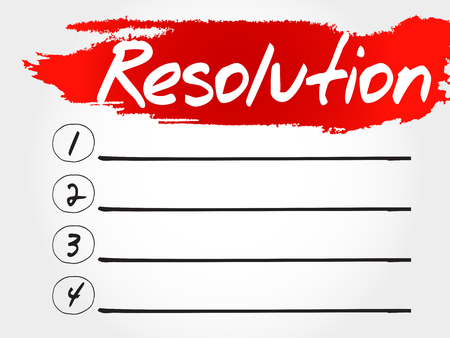 consonance: RESOLUTION blank list, fitness, sport, health concept Illustration
