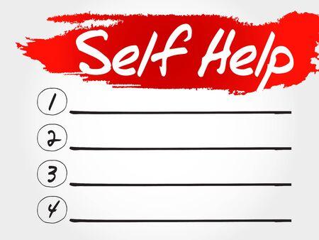 self help: Self Help blank list, health concept