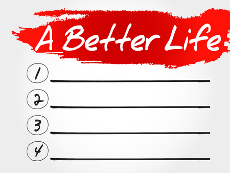 joyous: A Better Life blank list, health concept Illustration