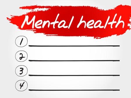 mentally: Mental health blank list, health concept