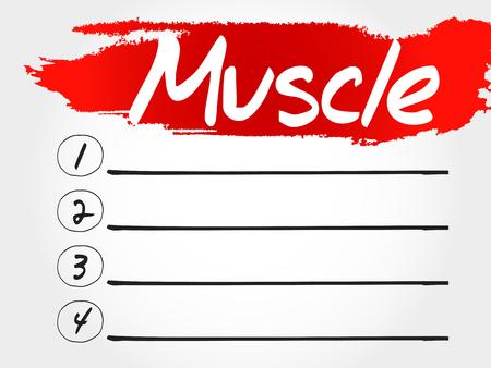 hormones: Muscle blank list, health concept