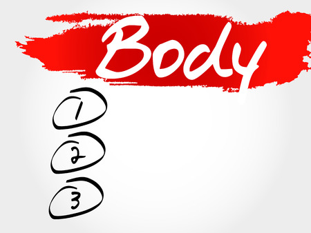 therapeutic: BODY blank list, fitness, sport, health concept Illustration