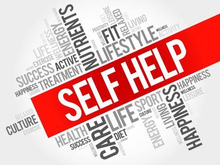 Self Help Wortwolke, Gesundheitskonzept Vektorgrafik