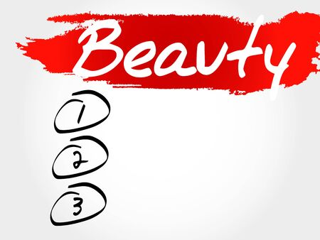 BEAUTY blank list, fitness, sport, health concept