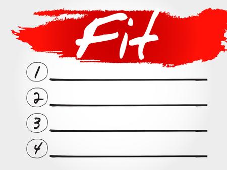 physique: Fit blank list, health concept