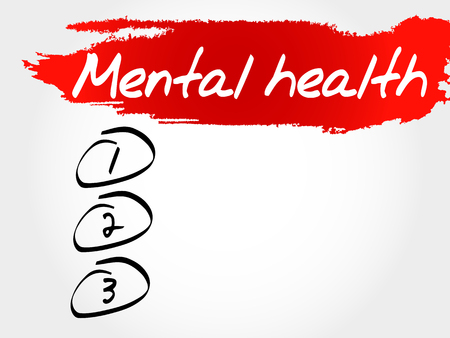 mentally: Mental health blank list, health concept