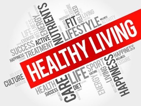 Healthy Living word cloud, health concept Illustration