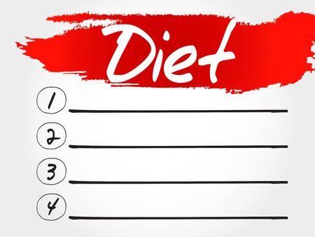 lbs: Diet blank list, health concept