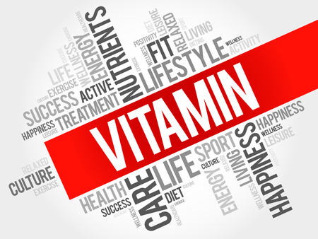 vitamin: VITAMIN word cloud, fitness, sport, health concept