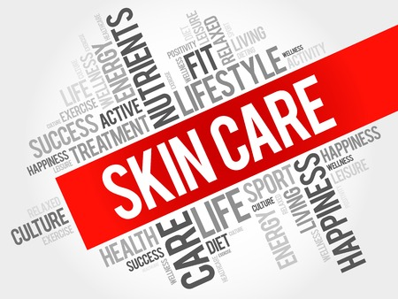 complexion: Skin care word cloud, health concept