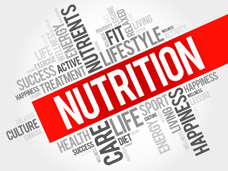 Nutrition word cloud, fitness, sport, health concept