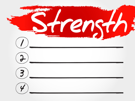 strength: Strength blank list, health concept