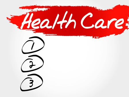 managed: Health care blank list, health concept Illustration