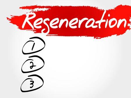 regeneration: Regeneration blank list, fitness, sport, health concept Illustration