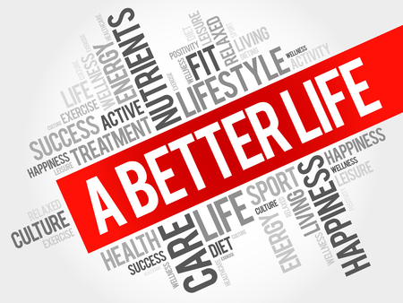 better: A Better Life word cloud, health concept Illustration