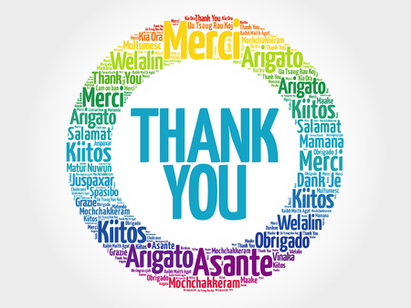 word cloud: Thank You Word Cloud background, all languages Illustration