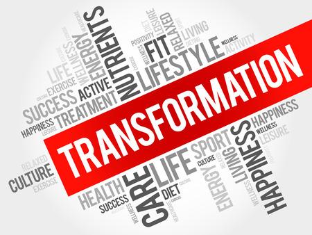 transformation: TRANSFORMATION word cloud, fitness, sport, health concept Illustration