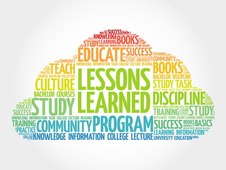 encapsulate: Lessons Learned word cloud, education concept Illustration