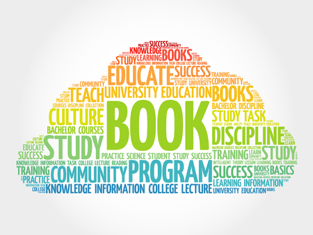 extramural: BOOK. Word education collage