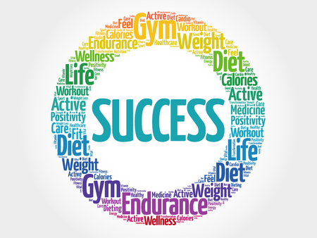 success concept: SUCCESS circle stamp word cloud, fitness, sport, health concept