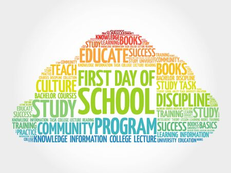first day: First day of school word cloud, education concept