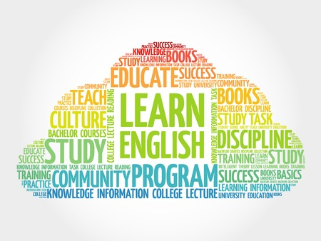 english word: Learn English word cloud, education concept
