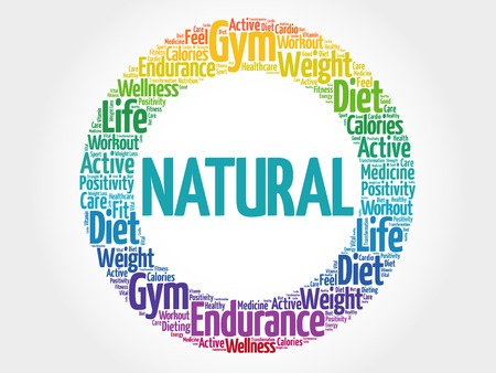 vitamine: NATURAL circle stamp word cloud, fitness, sport, health concept