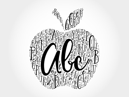 personas comunicandose: Apple made of alphabet letters, education word cloud concept
