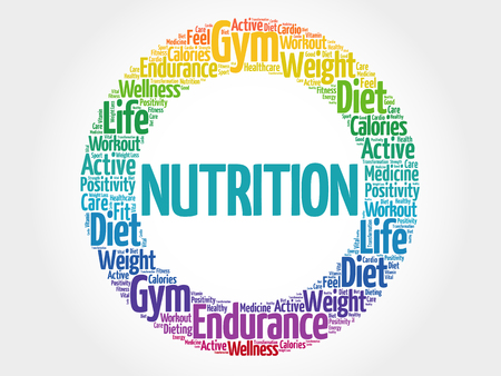 Nutrition circle stamp word cloud, fitness, sport, health concept