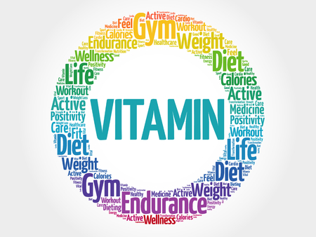 enzyme: VITAMIN circle stamp word cloud, fitness, sport, health concept
